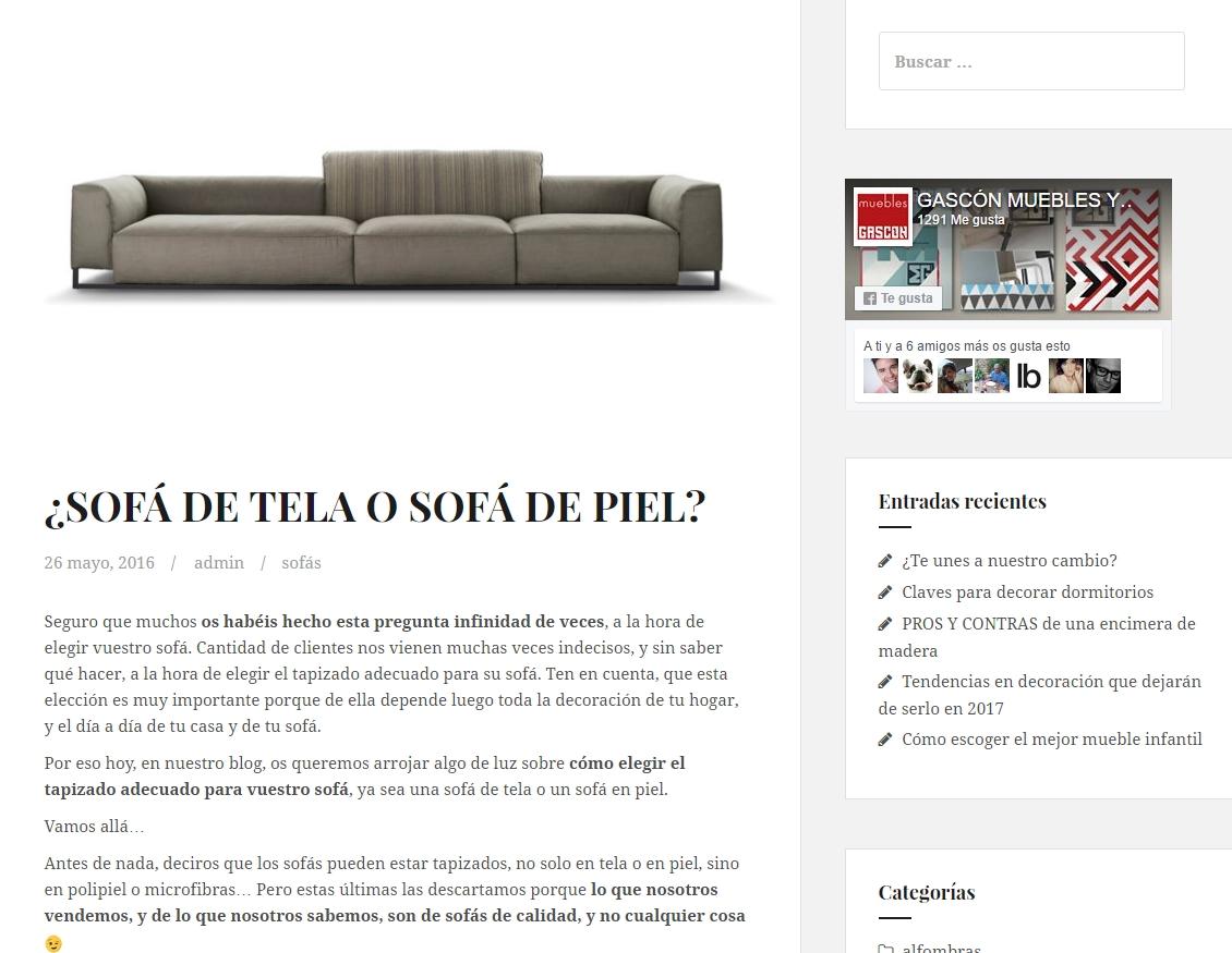 sofá de calidad en Huesca