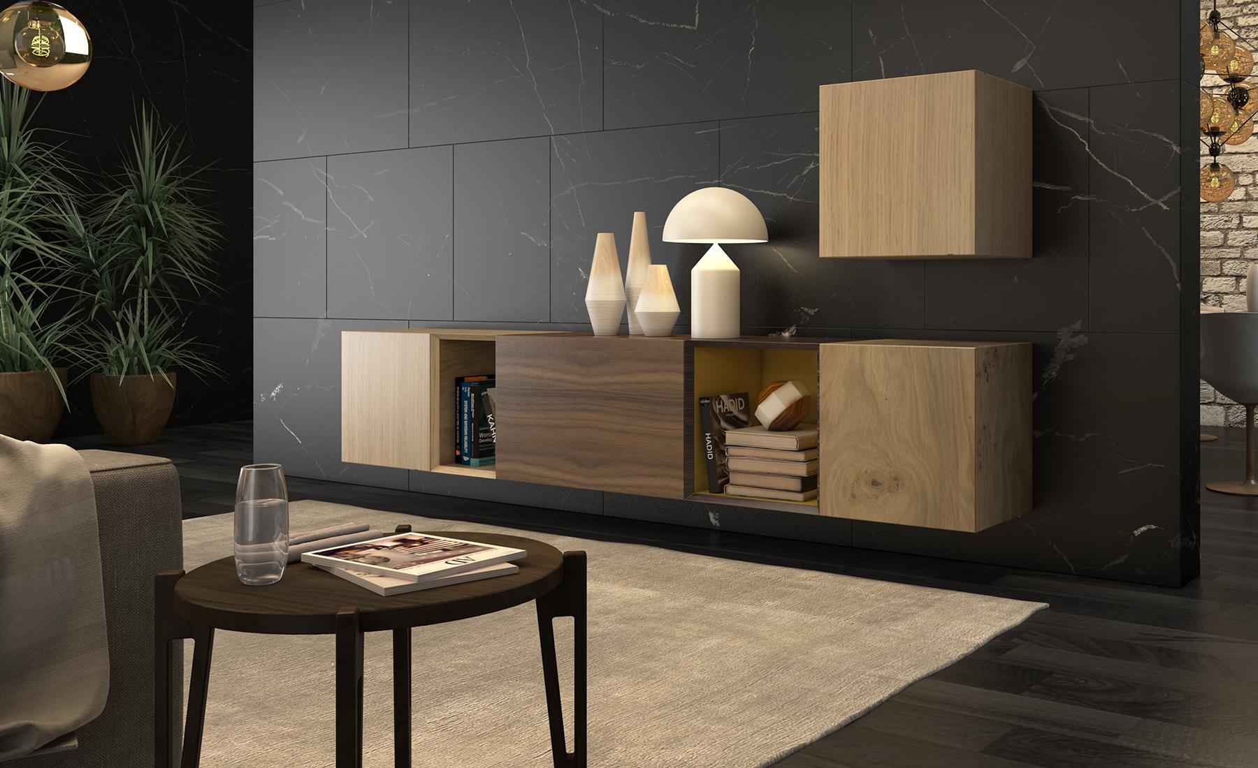 mesa auxiliar madera oscura